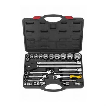 25 PCS— 1/2''&3/4'' Dr. Professional hand socket & gear wrench set